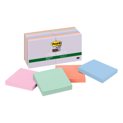 "Post-it® Super Sticky Recycled Notes, 3"" x 3"", Bali, Pack Of 12 Pads"