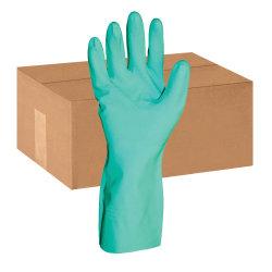 ProGuard Flock Lined Nitrile Gloves, Large, Green, Pack Of 12