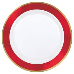 "Amscan Plastic Plates, 10-1/4"", White/Apple Red, Pack Of 10 Plates"
