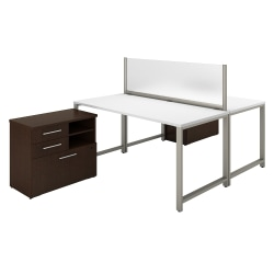 Bush Business Furniture 400 Series 2 Person Workstation With Table Desks And Storage, Mocha Cherry/White, Standard Delivery