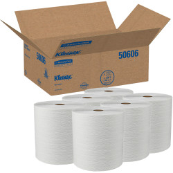 Kleenex® Professional™ 1-Ply Paper Towels, 50% Recycled, 600' Per Roll, Pack Of 6