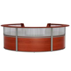 "Linea Italia, Inc 142""W 5-Unit Curved Reception Desk, Cherry"