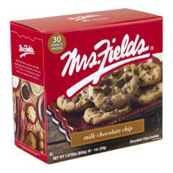 Mrs. Fields Milk Chocolate Chip Cookies, 1 Oz, Pack Of 30 Cookies