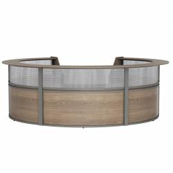 "Linea Italia, Inc 142""W 5-Unit Curved Reception Desk, Natural Walnut"