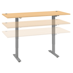"Move 40 Series by Bush Business Furniture Height-Adjustable Standing Desk, 72"" x 30"", Natural Maple/Cool Gray Metallic, Standard Delivery"