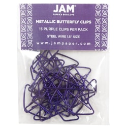 """JAM Paper® Paper Clips, Butterfly, 1 1/2"""", 25-Sheet Capacity, Purple, Pack Of 15"""