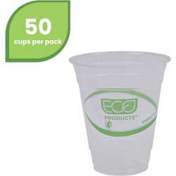 Eco-Products GreenStripe Cold Cups - 12 fl oz - 50 / Pack - Clear, Green - Polylactic Acid (PLA), Plastic - Cold Drink