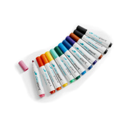 IdeaPaint Dry-Erase Markers, Bullet Point, White Barrel, Assorted Ink Colors, Pack Of 12 Markers