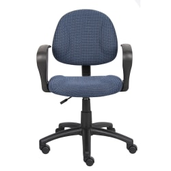 Boss Office Products Fabric Deluxe Posture Task Chair With Loop Arms, Blue/Black