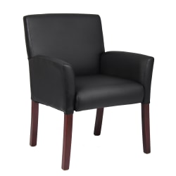 Boss Office Products Box-Arm Guest Chair, Black/Mahogany