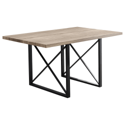 """Monarch Specialties Emma Dining Table, 30""""H x 60""""W x 36""""D, Dark Taupe"""