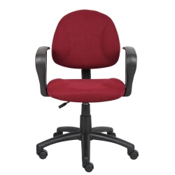 Boss Office Products Fabric Deluxe Posture Task Chair With Loop Arms, Burgundy/Black
