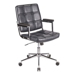 LumiSource Bureau Contemporary Office Chair, Navy/Chrome