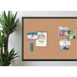 "U Brands Cork Bulletin Board, 36"" x 24"", Aluminum Frame With Black Finish"