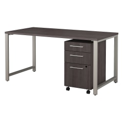 "Bush Business Furniture 400 Series Table Desk with 3 Drawer Mobile File Cabinet, 60""W x 30""D, Storm Gray, Standard Delivery"