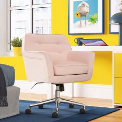 Serta® Ashland Home Mid-Back Office Chair, Twill Fabric, Blush Pink/Chrome