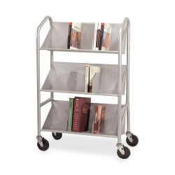 "Buddy Slope-Shelf Cart With Dividers, 41 1/2""H x 26""W x 16""D, Silver"