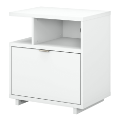 "kathy ireland® Home by Bush Furniture Madison Avenue 28""W Lateral 1-Drawer File Cabinet With Shelves, Pure White, Standard Delivery"