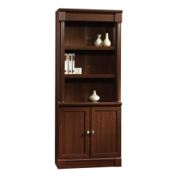 "Sauder® Palladia 71 7/8"" 5 Shelf Traditional Library with Doors, Cherry/Medium Finish, Standard Delivery"