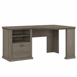 """Bush Furniture Yorktown 60""""W Corner Desk With Storage, Restored Gray, Standard Delivery"""