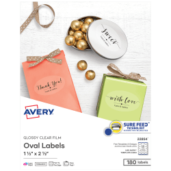 """Avery® Glossy Clear Oval Labels, Sure Feed™ Technology, Print to the Edge, Laser/Inkjet, 1-1/2"""" x 2-1/2"""", 180 Labels (22854)"""