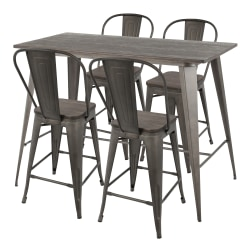 LumiSource Oregon Table With 4 Stools, Antique Metal/Espresso