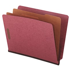 "Universal Pressboard End Tab Classification Folders, 8 1/2"" x 11"", Letter Size, Red/Brown, Box Of 10"