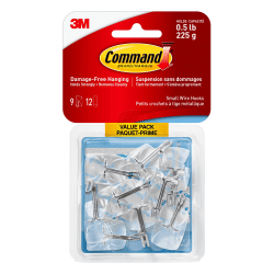 3M™ Command™ Wire Hooks, Small, Clear, Pack Of 9 Hooks