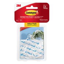3M™ Command™ Hooks, Medium, Clear, Pack Of 6