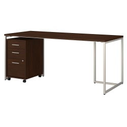"""kathy ireland® Office by Bush Business Furniture Method Table Desk With 3-Drawer Mobile File Cabinet, 72""""W, Century Walnut, Standard Delivery"""