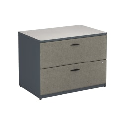 "Bush Business Furniture Office Advantage 36""W Lateral 2-Drawer File Cabinet, Slate/White Spectrum, Standard Delivery"