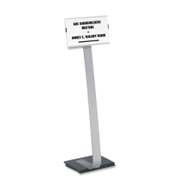 """Durable Info Sign Duo Floor Sign Stand, 46 1/2""""H x 11""""W x 11 1/2""""D, Black/Silver"""