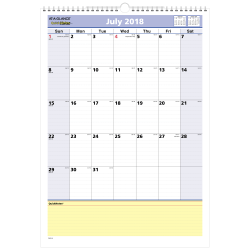"""AT-A-GLANCE® QuickNotes® Monthly Academic Wall Calendar, 12"""" x 17"""", 30% Recycled, July 2018 to July 2019"""