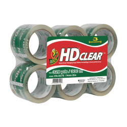 "Duck® HD Clear™ Extra-Wide Heavy Duty Packaging Tape, 3"" x 55 Yd., Clear, Pack Of 6"