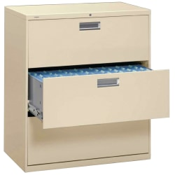 """HON® Brigade® 600 42""""W Lateral 3-Drawer File Cabinet, Metal, Putty"""