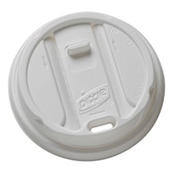 Dixie® Smart Top Reclosable Hot Cup Lids, For 10-24 Oz. Cups, White, Box Of 100