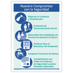 "ComplyRight™ Corona Virus and Health Safety Posters, Spanish, Our Commitment To Safety, 10"" x 14"", Set Of 3 Posters"