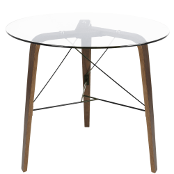 Lumisource Trilogy Contemporary Dining Table, Round, Clear/Walnut
