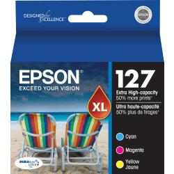 Epson® 127 DuraBrite® Ultra Cyan/Magenta/Yellow Ink Cartridges, Pack Of 3, T127520-S