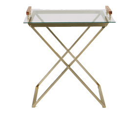 "Mind Reader Metal/Glass Table With Removable Glass Tray, 32-1/2""H x 29""W x 18-1/2"", Clear/Gold, Standard Delivery"
