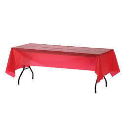 "Genuine Joe Plastic Table Covers, 54"" x 108"", Red, Pack Of 6"