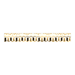 """Barker Creek Scalloped-Edge Double-Sided Borders, 2 1/4"""" x 36"""", Gold Coins, Pack Of 13"""