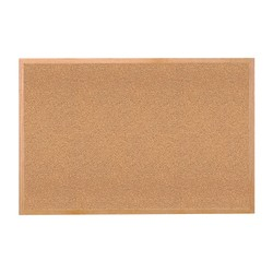 """Ghent Cork Bulletin Board, 24"""" x 36"""", Wood Frame With Brown Finish"""
