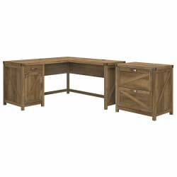 """Kathy Ireland Home by Bush® Furniture Cottage Grove 60""""W L Shaped Desk with 2 Drawer Lateral File Cabinet, Reclaimed Pine, Standard Delivery"""