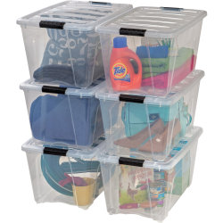 """IRIS® Stackable Clear Storage Boxes, 22"""" x 16 1/2"""" x 13"""", Clear, Black, Carton Of 6"""