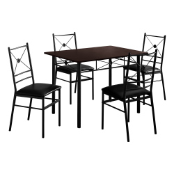"""Monarch Specialties 43""""W Rectangular Table With 4 Chairs, Cappuccino/Black"""