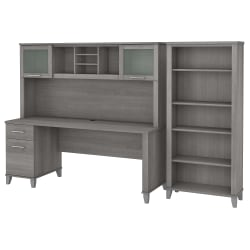 "Bush Furniture Somerset 72""W Office Desk With Hutch And 5-Shelf Bookcase, Platinum Gray, Standard Delivery"