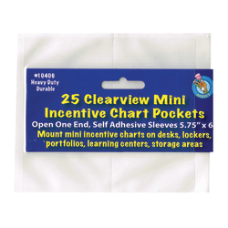 """Ashley Productions Mini Incentive Chart Pockets, 5 3/4"""" x 6"""", Clear, 25 Pockets Per Pack, Set Of 3 Packs"""