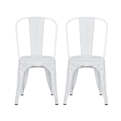 DHP Nova Mesh Dining Chairs, White/Silver, Set Of 2