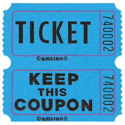"Amscan Double Ticket Roll, 6-1/2""H x 6-1/2""W x 2""D, Blue, 2,000 Tickets Per Roll"